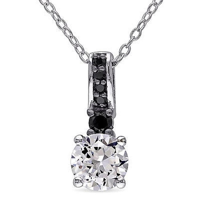 Item - Sterling Silver White Sapphire And 16 Ct Tdw Black Diamond Pendant Necklace 18