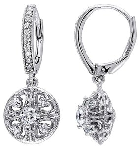 Amour Sterling Silver White Cubic Zirconia Cz Drop Dangle Leverback Earrings