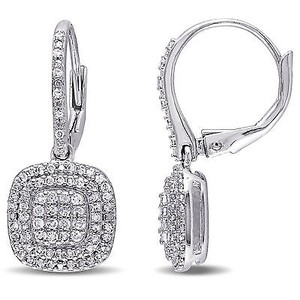 Amour Sterling Silver 12 Ct Tdw Diamond Composite Dangle Leverback Earrings H-i I2-i3