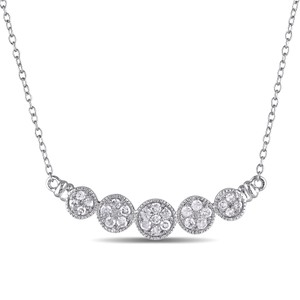 Amour Sterling Silver 12 Ct Tdw Diamond Halo Pendant Necklace H-i I2-i3 18