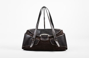 Tod's Tods Leather Suede Flap Satchel in Brown