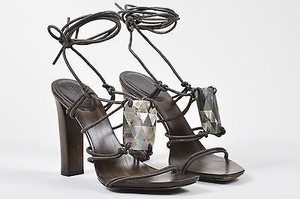 Gucci Leather Heel Brown Sandals