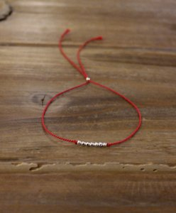 Anthropologie New Anthropologie Handmade Friendship Skinny Thin 100% Silk Thread Cord 925 Genuine Sterling Silver faceted round Beads Bracelet gift Red