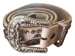 Unknown Heavily Studded Cowgirl White Leather Belt