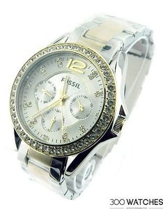 Fossil Fossil Riley Es3204 Two Tone Quartz Watch
