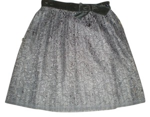superior Italy Size 40 Mini Skirt black lace with velvet