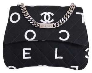Chanel Classic 2.55 Flap Logo Satchel in Black