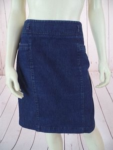 Kenneth Cole Reaction Jean Denim Elasterell Stretch Hot Skirt Dark Blue Wash