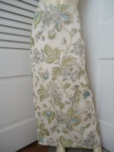 Talbots Full Length Long Floral Irish Linen Straight Lined Slit Maxi Skirt Ivories