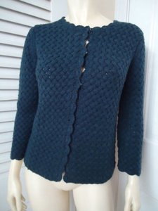 Ann Taylor LOFT Lambswool Blend Snap Front Cardigan Retro Chic Sweater
