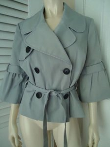 INC International Concepts Coat Poly Cotton Stretch Double Breated Ruffled Belted Sleeve Gray Jacket