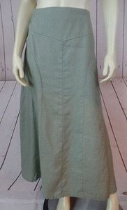 Isabella Bird Long Linen Vertical Panels Yoke Waist Boho Skirt Celery Green
