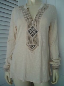 Lucky Brand Boho Hippie Pullover Knit Applique Embroidery Studs Tunic