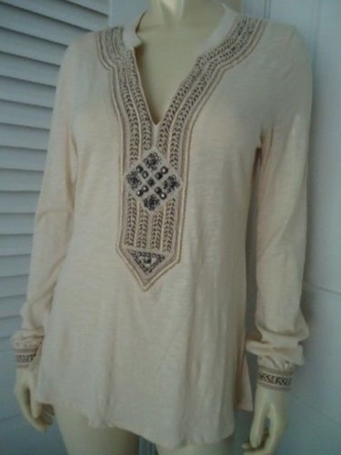 Lucky Brand Boho Hippie Pullover Knit Applique Embroidery Studs Tunic Image 1