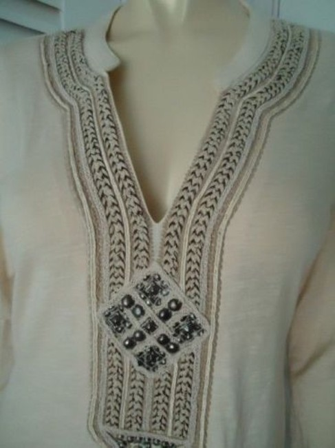 Lucky Brand Boho Hippie Pullover Knit Applique Embroidery Studs Tunic Image 2