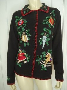 Other Bp Design Ramie Cotton Embroidery Beads Christmas Cardigan Ugly Sweater