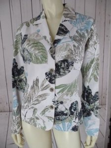 Chico's Chicos Blazer 0 Cotton Silk Blend Lined Leaf Print Pockets Springtime Chic
