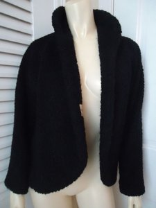 Other Vintage Glenhaven Coat Wrap Wool Textured Boucle Lined Retro 60s Black Jacket