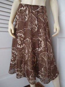 Other Isaac Mizrahi Target Silk Blend Gored Panel Flared Lined Abstract Chic Skirt brown and cream