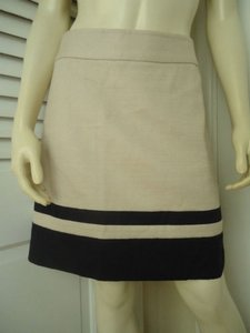 Ann Taylor LOFT Cotton Linen Nautical Wout Tags Mini Skirt Cream with Navy Stripge