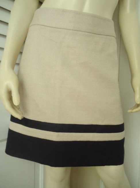 Ann Taylor LOFT Cotton Linen Nautical Wout Tags Mini Skirt Cream with Navy Stripge Image 1