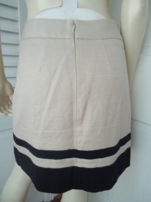 Ann Taylor LOFT Cotton Linen Nautical Wout Tags Mini Skirt Cream with Navy Stripge Image 2