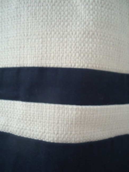 Ann Taylor LOFT Cotton Linen Nautical Wout Tags Mini Skirt Cream with Navy Stripge Image 3