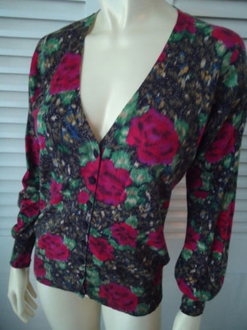 Lucky Brand Cotton Fine Knit Cardigan Button Front Abstract Floral Sweater Image 1