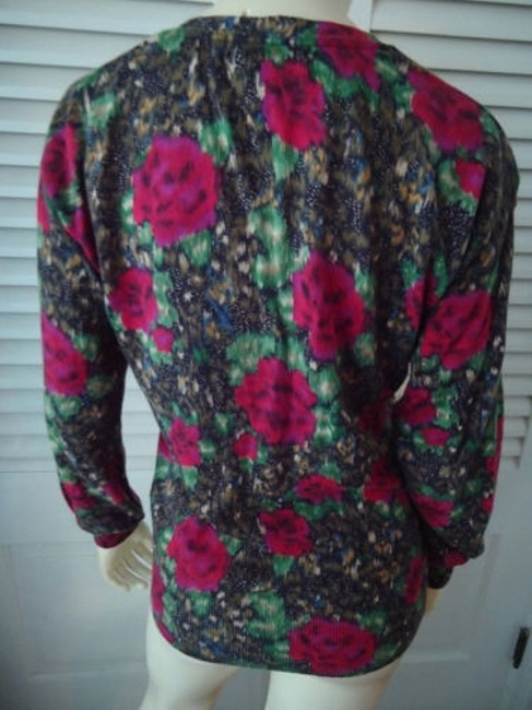 Lucky Brand Cotton Fine Knit Cardigan Button Front Abstract Floral Sweater Image 4