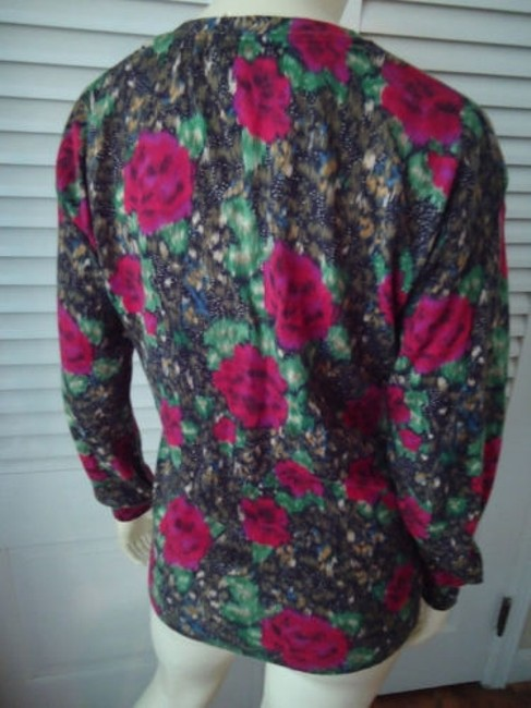 Lucky Brand Cotton Fine Knit Cardigan Button Front Abstract Floral Sweater Image 5