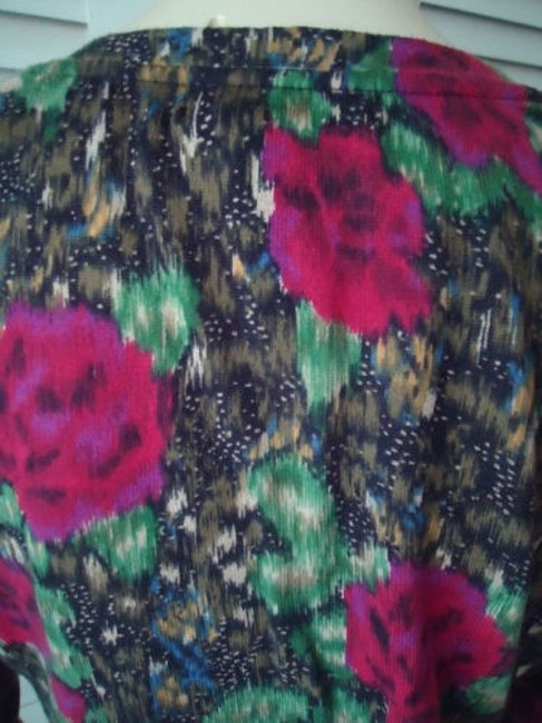 Lucky Brand Cotton Fine Knit Cardigan Button Front Abstract Floral Sweater Image 6