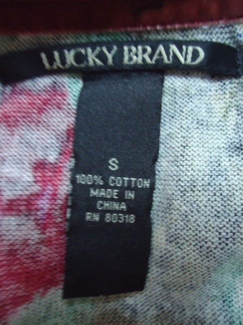 Lucky Brand Cotton Fine Knit Cardigan Button Front Abstract Floral Sweater Image 7