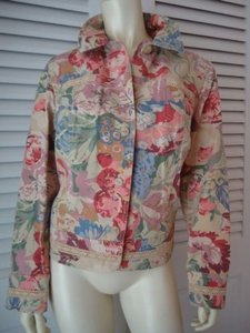Coldwater Creek Jean Style Floral Button Front Lace Unlined Hot Multi-Color Jacket