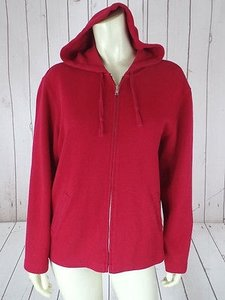 Talbots Sweat Jacket Cotton Knit Zip Front Pockets Yoga Workout Hot Sweatshirt