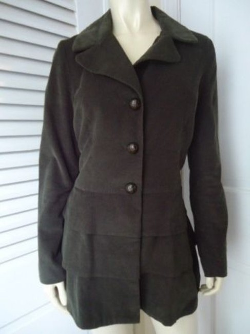 Cynthia Rowley Blazer Long Corduroy Button Front Faux Belt Lined Chic Coat Image 1