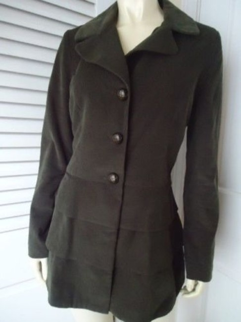 Cynthia Rowley Blazer Long Corduroy Button Front Faux Belt Lined Chic Coat Image 2