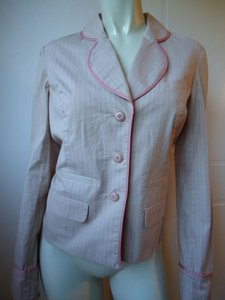 Anthropologie Elevenses Pink pinstipes on beige coat Jacket