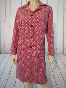 Other short dress Magenta geometric design on cream background Shift Runs Poly Knit Retro 60s Mod on Tradesy