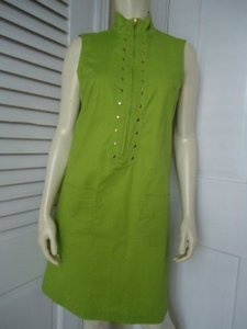 Other short dress Greens Richard Malcolm Petite Stretch Cotton Retro Shift 6p Unlined Gold Stud Hot on Tradesy