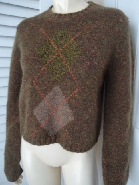 Banana Republic Wool Mohair Blend Crop Crewneck Argyle Sweater Image 1