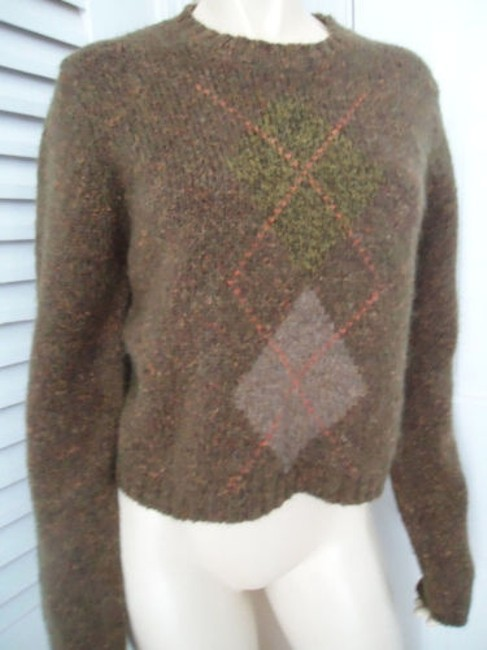 Banana Republic Wool Mohair Blend Crop Crewneck Argyle Sweater Image 2