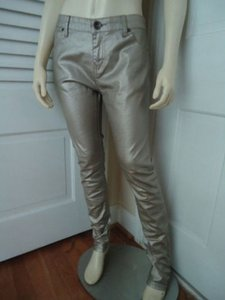 Other Colour Jean Eu Metallic Skinny Stretch Straight Leg Zip Hot Pants