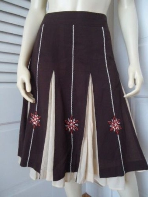 Ann Taylor LOFT Peasant Boho Floral Embroidery Gored Pleats Lined Hot Maxi Skirt Multi-Color Image 1
