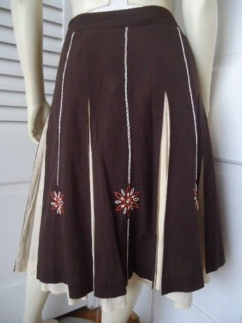 Ann Taylor LOFT Peasant Boho Floral Embroidery Gored Pleats Lined Hot Maxi Skirt Multi-Color Image 3