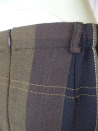 761db1fb3 durable service ORVIS Orvis Wool Skirt P8 Browns Plaid Open Pleat Long  Pockets Imported Fabric Chic