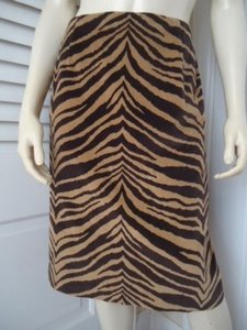 Other Talbots Petites Stretch Tiger Print Faux Suede Feel Lined No Waist Skirt Gold & Black