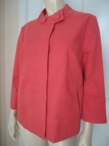 Talbots Blazer Stretch Cotton Swing Unlined Hidden Covered Buttons Retro Chic Pinks Jacket