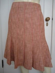 Ann Taylor Petites Cottonwool Gored Tweed 12p Lined Flared Classy Skirt Pinks