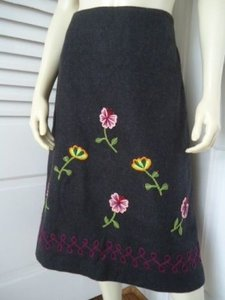 Other Impulse Wool Blend Floral Embroidery Applique Lined Retro Boho Skirt Grays