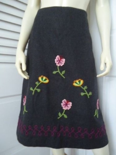 Other Impulse Wool Blend Floral Embroidery Applique Lined Retro Boho Skirt Grays Image 1